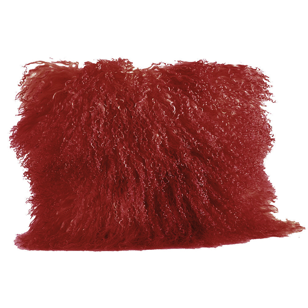 Rose Pink Color Real Mongolian Lamb Fur Pillow, Includes Pillow Filling.  16 Inch  Square