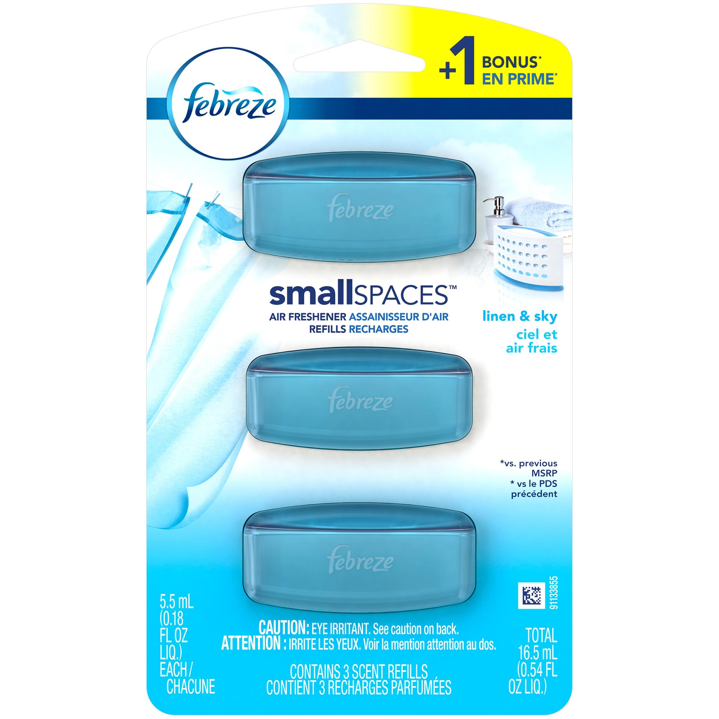 Febreze Small Spaces Air Freshener Refills, Linen & Sky, 3 count