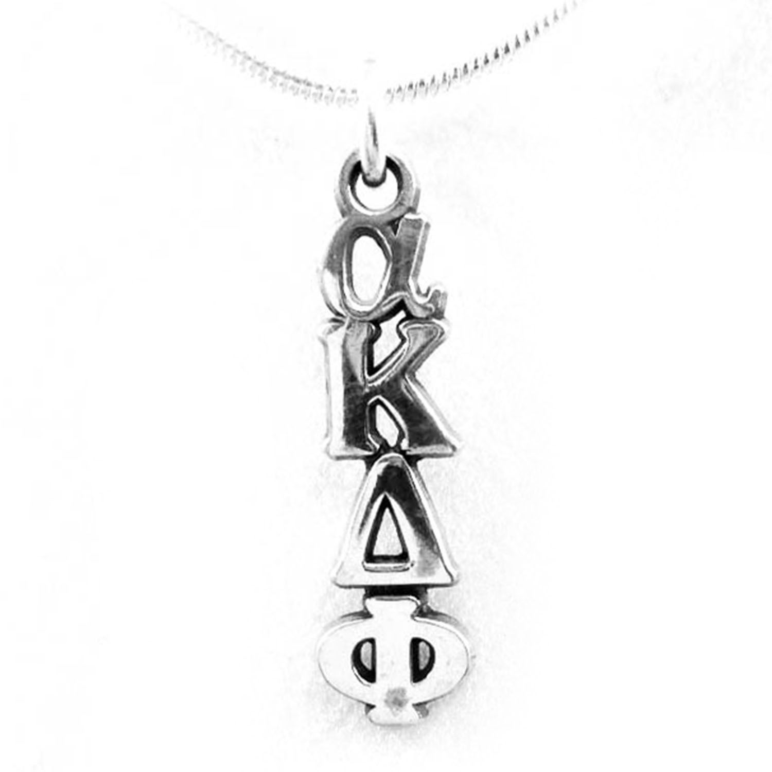 alpha Kappa Delta Phi Sorority Sterling Silver Lavalier with Chain