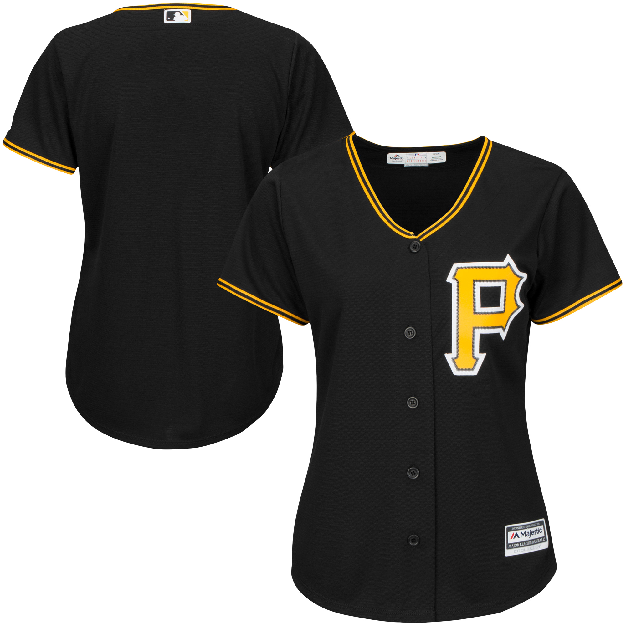 Pittsburgh Pirates Majestic Women's Alternate Plus Size Replica Cool Base Team Jersey Black by Profile