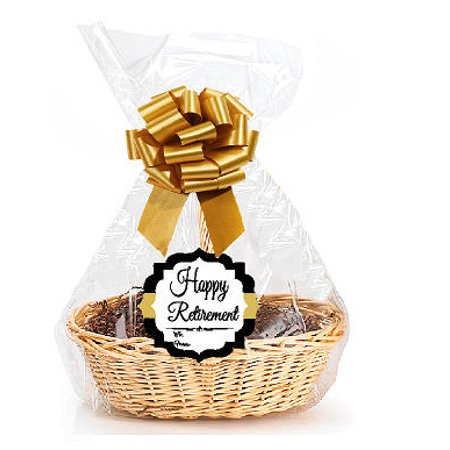 """Happy Retirement   2Pack Designer Cello Bags / Tags / Bows Cellophane Extra Large Gift Basket Packaging Bags Flat 25"""" X 30"""""""