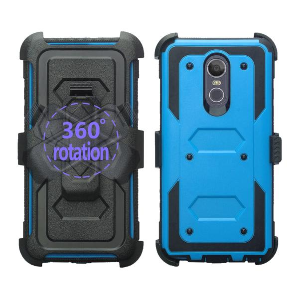 LG Stylo 4 Case, Rugged Series with Built-in [Screen Protector] Heavy Duty Full-Body Rugged Holster Armor Case [Belt Swivel Clip][Kickstand] (Blue) - image 3 de 6