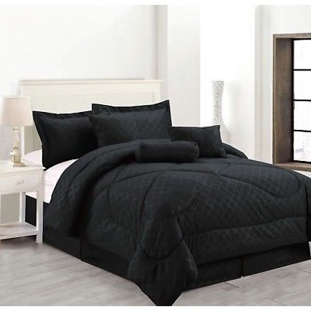 7-Piece Solid Luxury Hotel Comforter Set Bed In A bag - Black - Queen Size