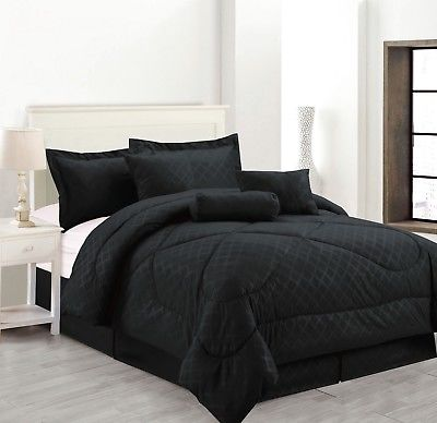 7-Piece Solid Luxury Hotel Comforter Set Bed In A bag - Black - California Size