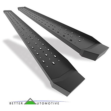 """BETTER AUTOMOTIVE Side Steps Running Boards Fit 2019 Chevy Silverado 1500 Double Cab/2019 GMC Sierra 1500 Double Cab Truck Pickup 6.5"""" Rattler Steel Transit Utility Black Side Bars 2"""
