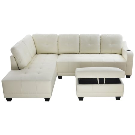 Sectional Sofa_AYCP Furniture_ White Faux Leather Sectional Sofa with Cup  Holder on the Arm and Storage Ottoman, Left Hand Facing Chaise, More colors  ...