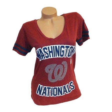 Genuine Merchandise Women Baseball Fan V-Neck Tee Baseball Womens V-neck