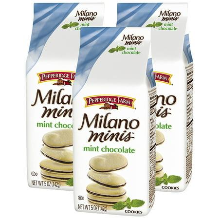 (3 Pack) Pepperidge Farm Milano Minis Mint Chocolate Cookies, 5 oz. Bag
