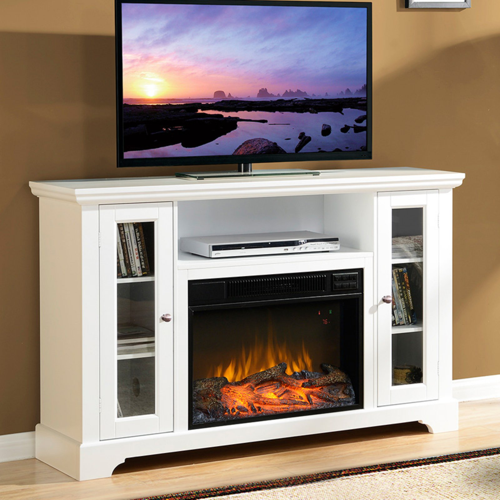 "Flamelux Queenston Fireplace for TVs up to 55"" in White"