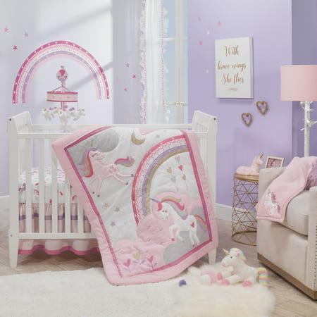 Lambs & Ivy Magic Unicorn Pink/Purple Rainbow 3-Piece Baby Crib Bedding Set