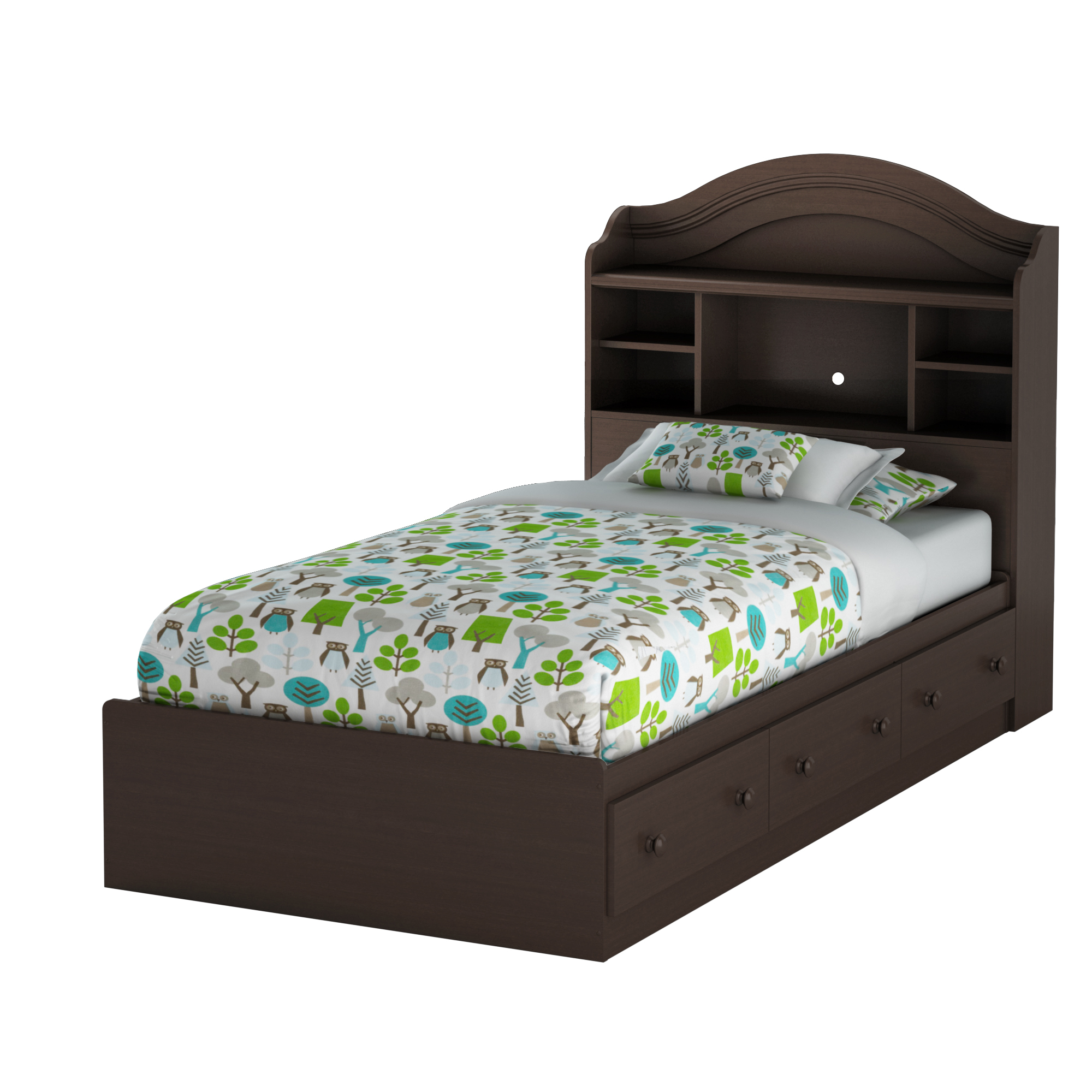 South Shore Summer Breeze Twin Mates Bed with Drawers and Bookcase Headboard (39'') Set, Chocolate