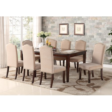 Rowena 9 Piece Formal Dining Room Set, Cherry Wood & Cream White Fabric,  Rectangular, Contemporary (Table With 18\