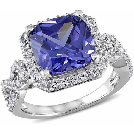 6-3/4 Carat T.G.W. Created Tanzanite and Created White Sapphire Sterling Silver Halo Cocktail Ring ()