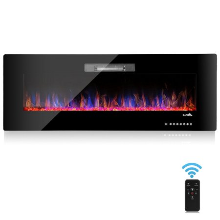 "50"" Recessed Electric Fireplace, In-wall& Wall Mounted & standing Electric Heater, Remote Control,Touch screen"