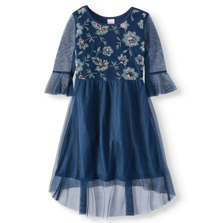 Wonder Nation Sequin Floral Mesh Bell Sleeve Hi Low Holiday Dress (Little Girls & Big - Little Dress Up Shop Coupon Code