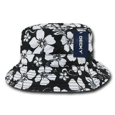 Black Fishermans Fishing Floral Hawaiian Bucket Jungle Safari Polo Cap Hat-L / XL ()