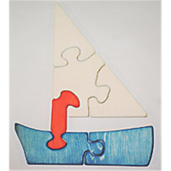 THE PUZZLE-MAN TOYS W-1181 Wooden Educational Jig Saw Puzzle Sailboat by Charlies Woodshop
