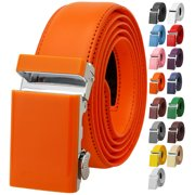 Falari Men Unisex Genuine Leather Ratchet Dress Belt Automatic Sliding Buckle Trim to Fit