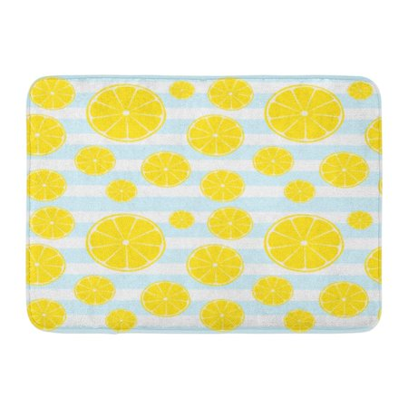 SIDONKU Yellow Line Lemons Slices on Blue White Striped Pattern Abstract Bright Doormat Floor Rug Bath Mat 23.6x15.7 inch