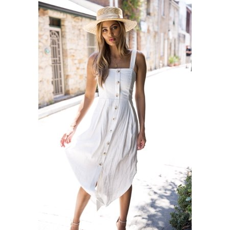 Womens Spaghetti Strap Long Maxi Button Down Split Sexy Dress Beach Sundress