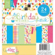 Birthday Wishes Paper Stack 6 Inch X 6 Inch 24/Sheets-12 Designs/2