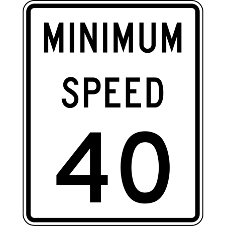 Traffic Signs - R2-4P: Minimum Speed Limit (Plaque) 12 x 8 Plastic PVC Sign Street Weather Approved Sign