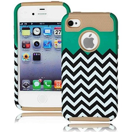 High Impact Design (For Apple iPhone 4, 4s, 4g, Bastex High Impact Hybrid Silicone Rubberized Cover with Chevron Design Hard Case for Apple iPhone 4, 4g, 4s 4gs - Teal and)