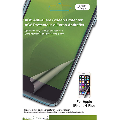 Green Onions Supply AG2 Anti-Glare Screen Protector for Apple iPhone 6 & 6S Plus, 2pk
