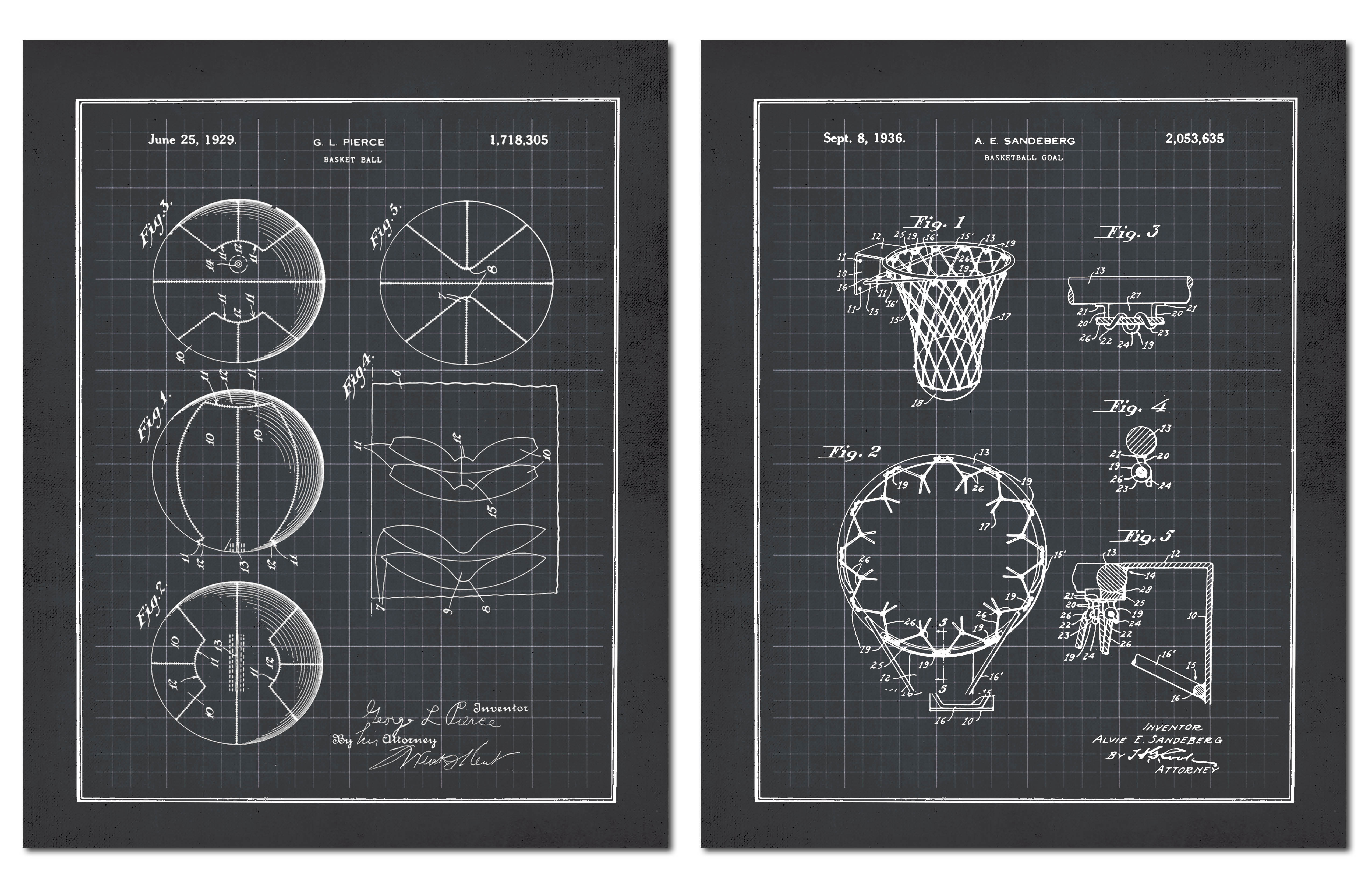 Black and white basketball and net blueprint set two 11x14in unframed paper posters