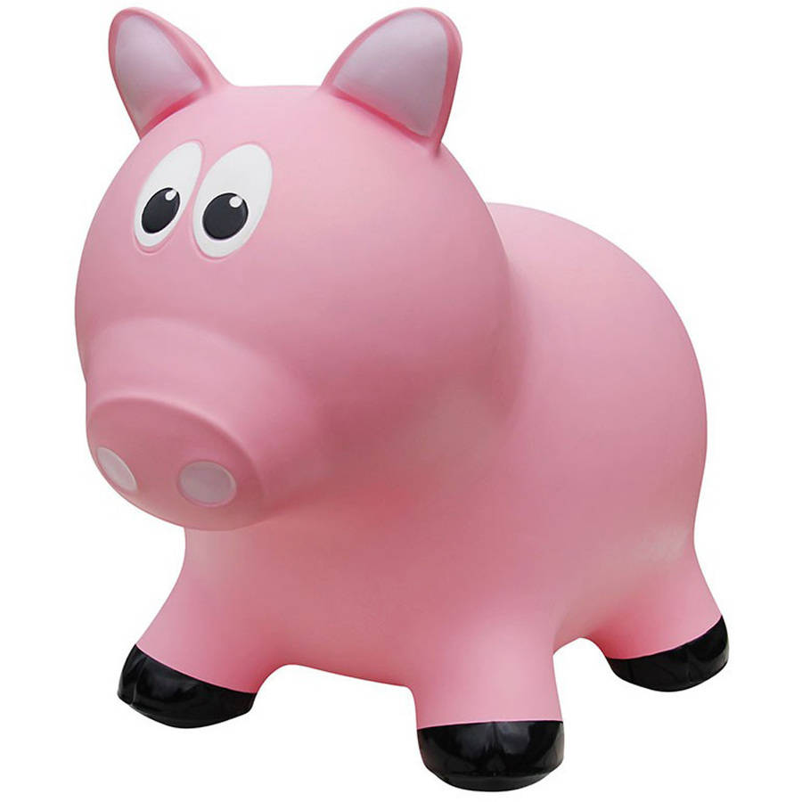 Farm Hoppers Inflatable Bouncing Pink Pig with Pump by CJM Kids Inc.