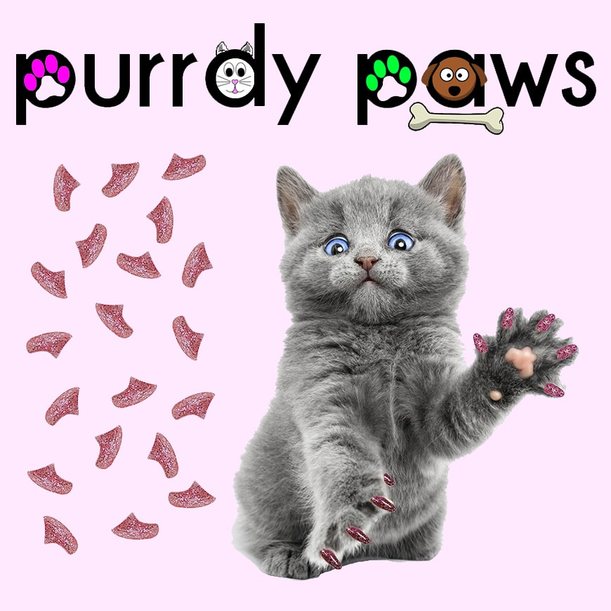 6 Month Supply - Purrdy Paws Pink Glitter Soft Nail Caps for Medium Cats Claws - Extra Adhesives