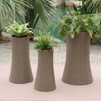 Belham Living Bayport Round Wicker Planters - Set of 3