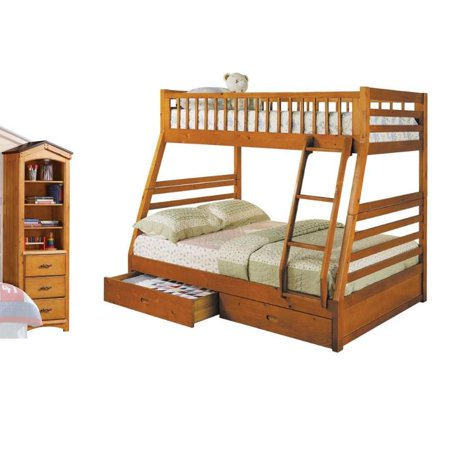 Set of 2 Twin Over Full Storage Bunk Bed and Tree House Shelf in Oak (Tree House Bunk Bed)