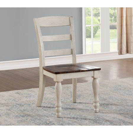 - ACME Britta Side Chair, Set of 2 in Walnut and White Washed