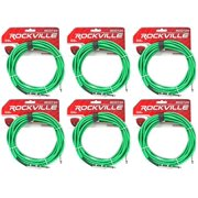 """6 Rockville RCGT20G 20'  1/4"""" TS to 1/4'' TS Guitar/Instrument Cable"""