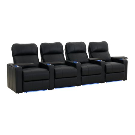Octane Seating Turbo XL700 Straight - Home theater seating - recliner - 4 seats - armrests - bonded leather, high-density foam, gel-infused memory foam - black