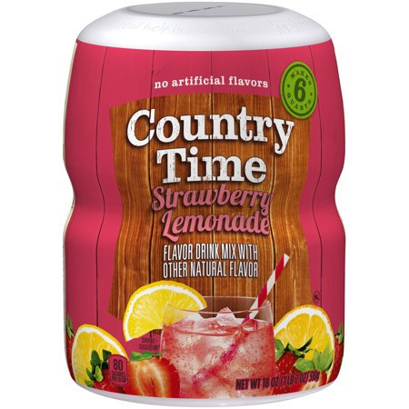 (6 Pack) Country Time Strawberry Lemonade Drink Mix, 18 oz