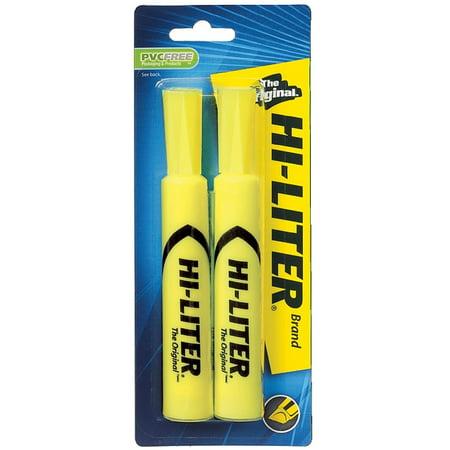 Avery Dennison Hi Liter Fluorescent - Avery Hi-Liter Desk Style Highlighter, Chisel Point, Yellow 2 ea (Pack of 2)