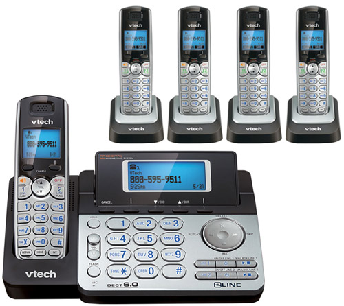 VTech DS6151 + (4) DS6101 2 Line Expandable cordless phone by VTech