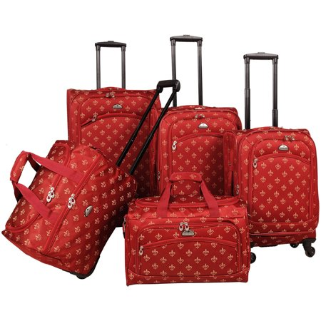 AF 5P FleurDeLis LuggagSet Red