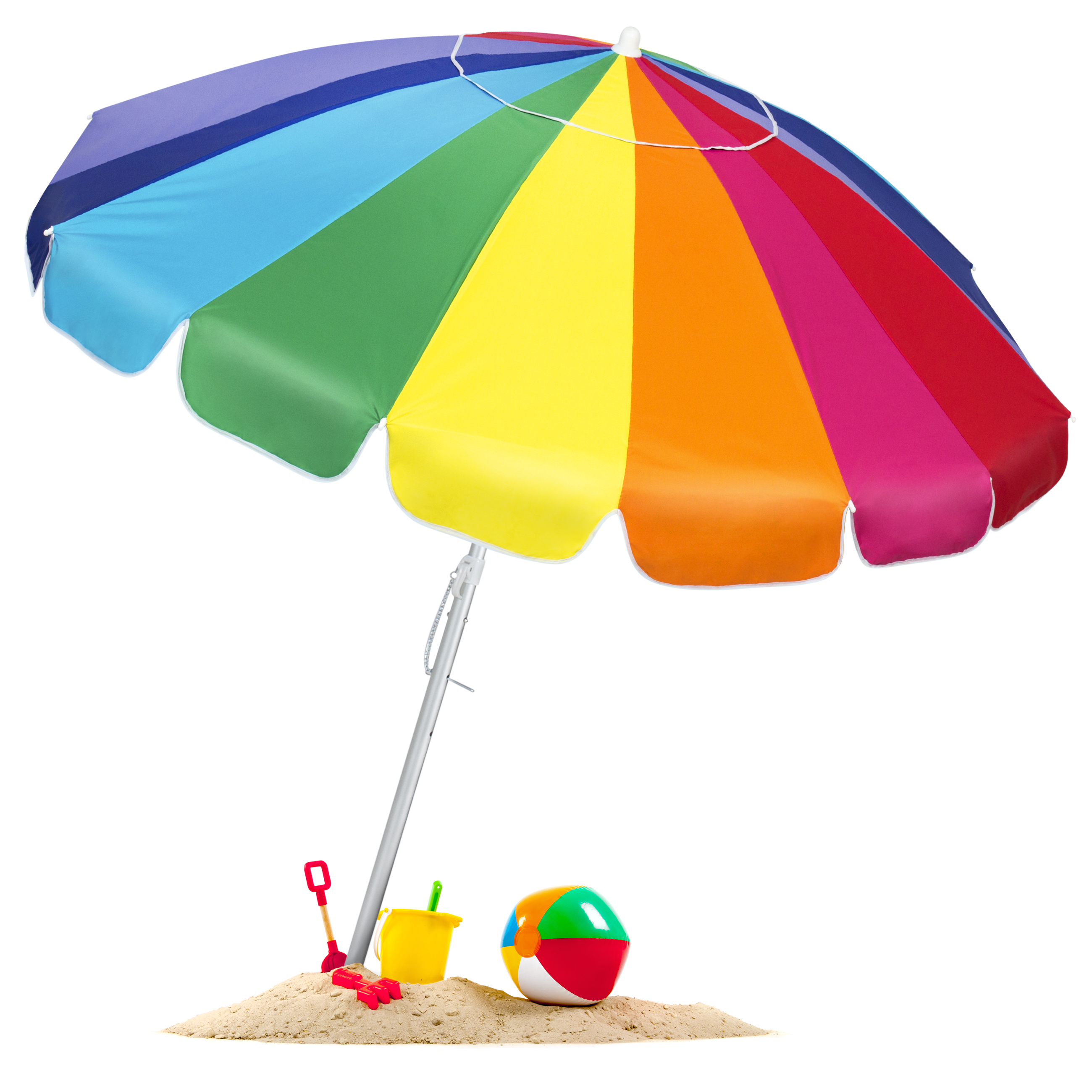 BCP Tilt Rainbow Beach Umbrella W/ Carrying Case & Anchor - Multiple Sizes