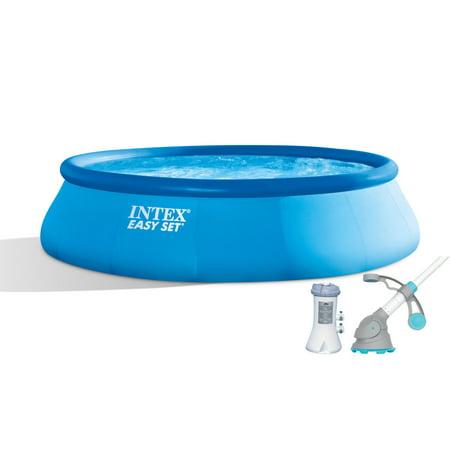 "Intex 15' x 42"" Easy Set Pool with 1000 GPH Pump & Kokido Krill Automatic Vacuum"