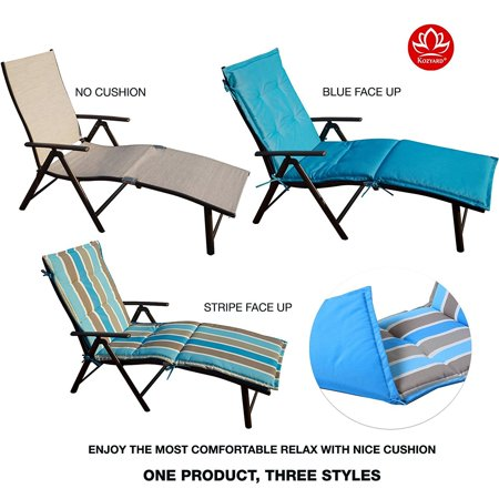 Kozyard Cozy Aluminum Beach Yard Pool Folding Reclining Chaise Lounge Chair (Beige with Blue Cushion)
