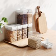 Airtight Food Storage Container, Clear Cereal Containers, Plastic Cereal Containers with Easy Lock Lids, Container Box for Kitchen Pantry Organization and Storage, Keeps Food Fresh & Dry