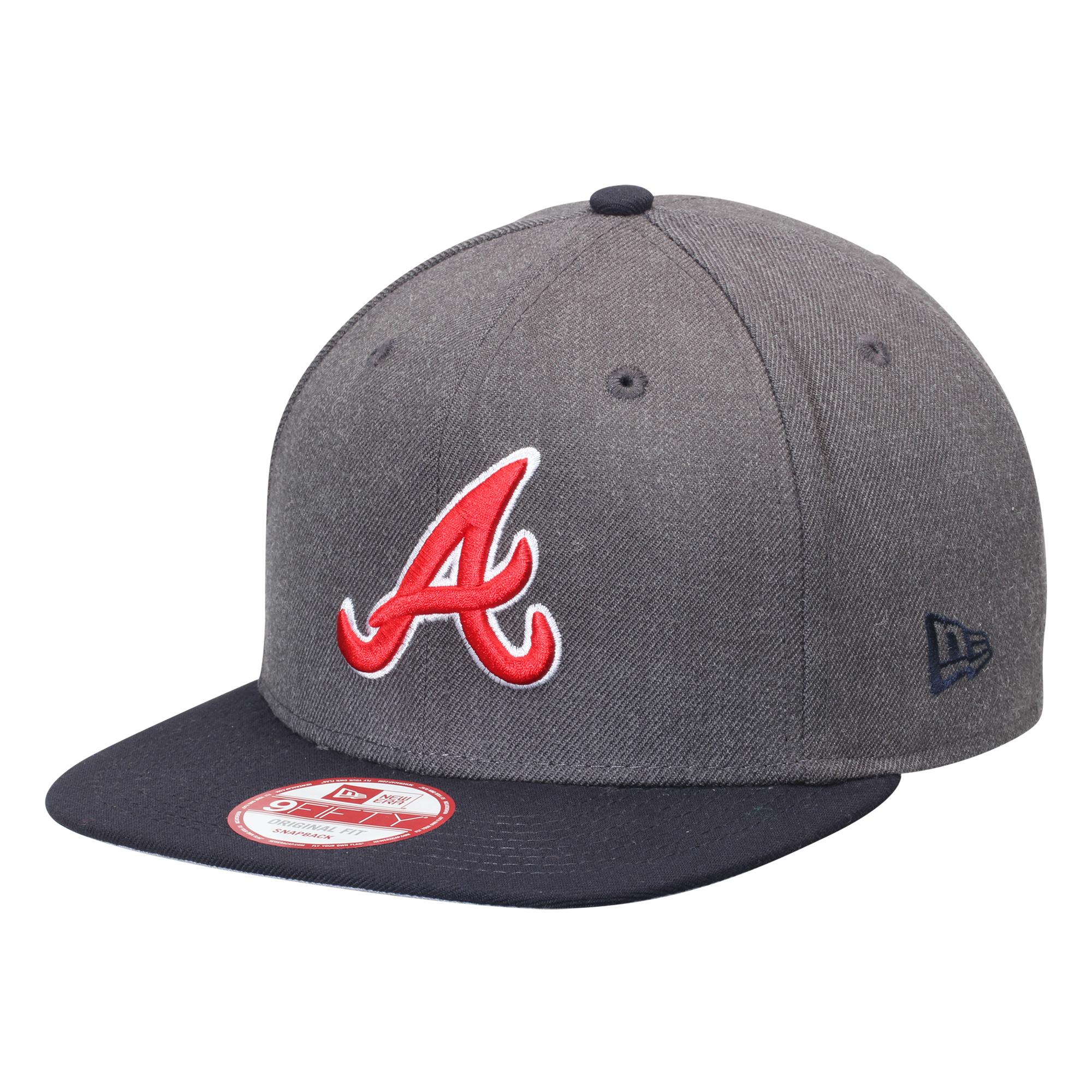 Atlanta Braves New Era Original Fit 9FIFTY Snapback Adjustable Hat - Graphite/Navy - OSFA