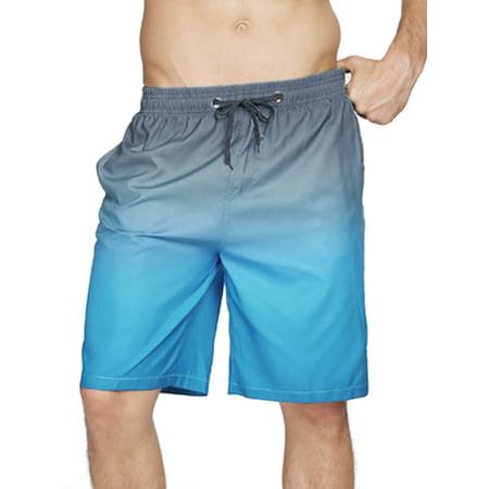 Mens Swimming Swim Shorts Elastic Waist Pockets Surf Summer Gradient Print Tie-Dye Beach Swimwear Pool Trunks Pants