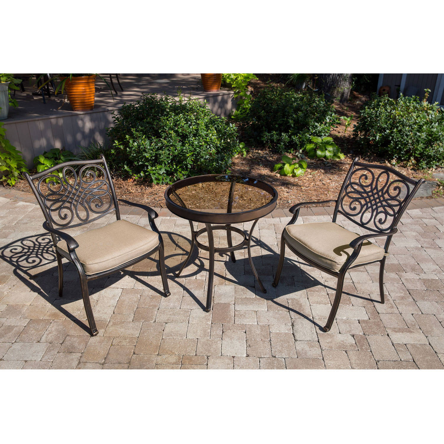 Hanover Outdoor Traditions 3-Piece Glass-Top Bistro Set with Stationary Chairs
