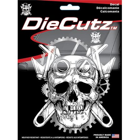 chroma decal c54-40016 vet amer flag small steampunk skull die cutz decal
