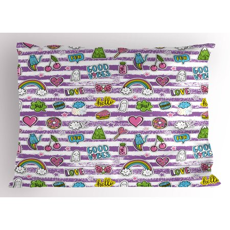 Good Vibes Pillow Sham Purple Stripes with Grunge Look Cheerful Cartoon Characters 80s 90s Style Retro, Decorative Standard Size Printed Pillowcase, 26 X 20 Inches, Multicolor, by Ambesonne for $<!---->