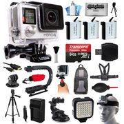 GoPro HERO4 Silver Edition 4K Action Camera with 64GB MicroSD, 3x Batteries, Charger, Card Reader, Backpack, Chest Harness, Action Handle, Tripod, Car Mount, LED Light, Helmet Strap, Dust Cleaning Kit